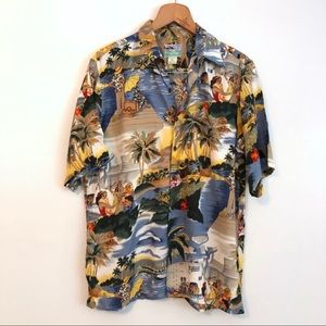 Reyn Spooner Silk Hawaiian Shirt, Men's Size M